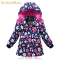 Brand Baby Girls Duck Down Jackets Floral Down Coat For Girl Thick Enfant Parkas Kids Winter Clothes Children Warm Outerwear