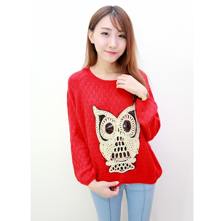 Sweaters 2013 Women Fashion Autumn Winter O-neck Long Sleeve Paillette Animal Owl Pattern Knitted Pullover Sweater Plus Size