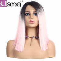 USMEI 14inches straight lace front wig synthetic wigs natural hairline Ombre pink wigs for women Heat Resistant two color choose
