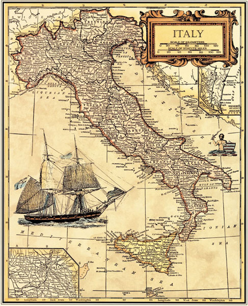 Free Ship Oil Painting Canvas Printing Vintage Map Italy -2116
