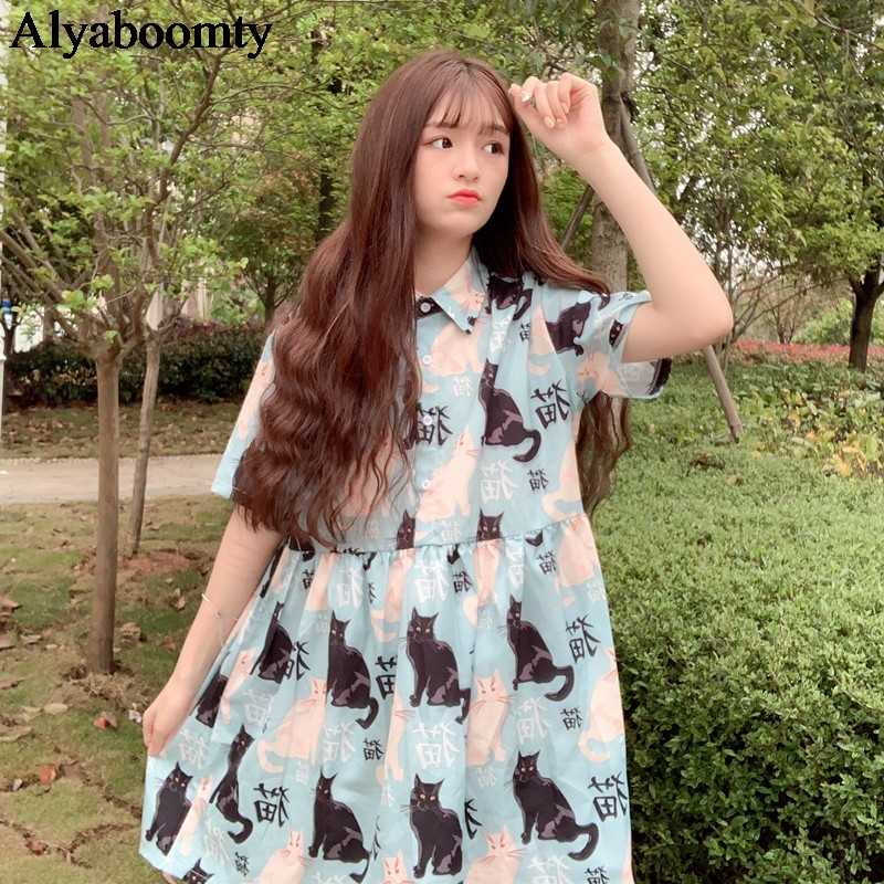 Japanese Harajuku Summer Women Lolita Dress Turn-Down Collar Cat Print Casual Loose Dress Short Sleeve Elegant Cute Kawaii Dress