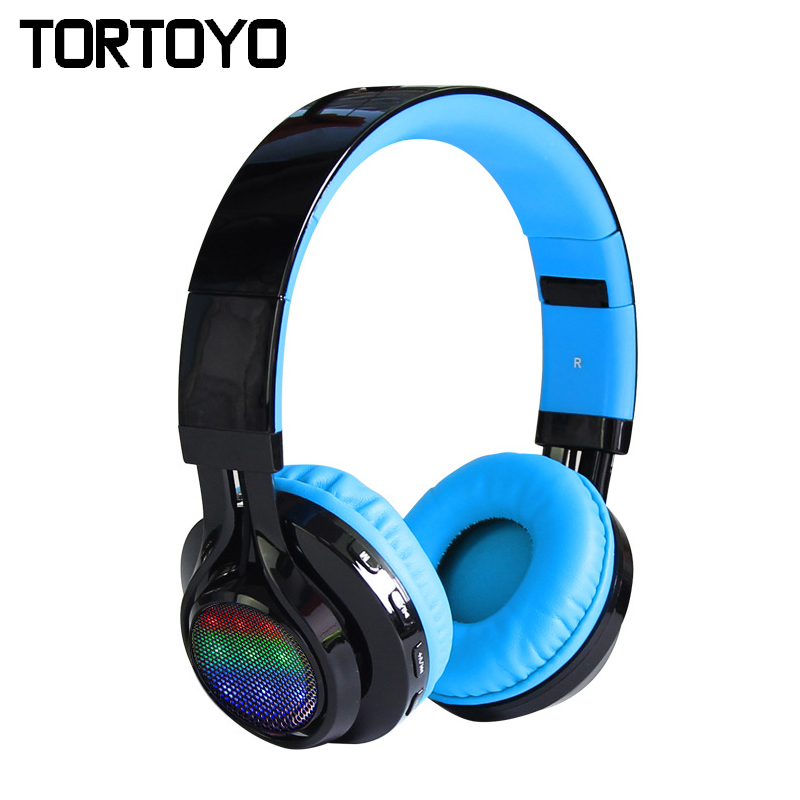 AB005 Folding Super Bass Stereo Sports Gaming Built-in Microphone Lighting LED Wireless Bluetooth Headset Headphone Earphone