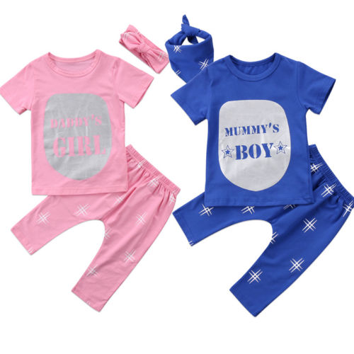 Sweet Twins Matching 3Pcs Newborn Baby Girls Boys Short Sleeve Cotton T-shirt Romper+Pants Headband Scaves Outfit Clothes