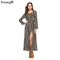 Sosaeg Suit Dress New Long Sleeve Women Party Summer Dress European Stripe Gown Sexy Dresses Clothing