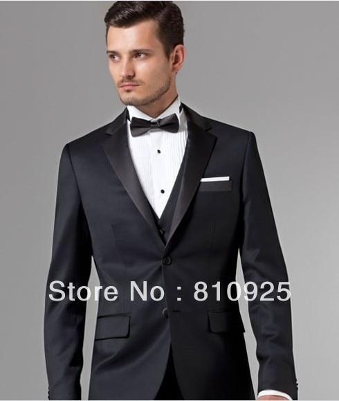 Western Wedding Suits Wool Bleed Tuxedo For Men Bridegroom Groom 3 Piece Black Suit