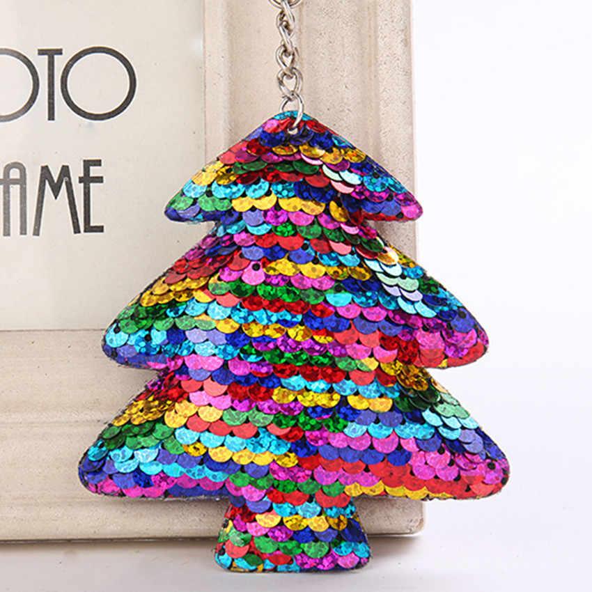 LLavero de árbol de Navidad lindo pompón brillo lentejuelas llavero regalos para mujeres dijes bolsa accesorios de coche llavero llaveros Mujer