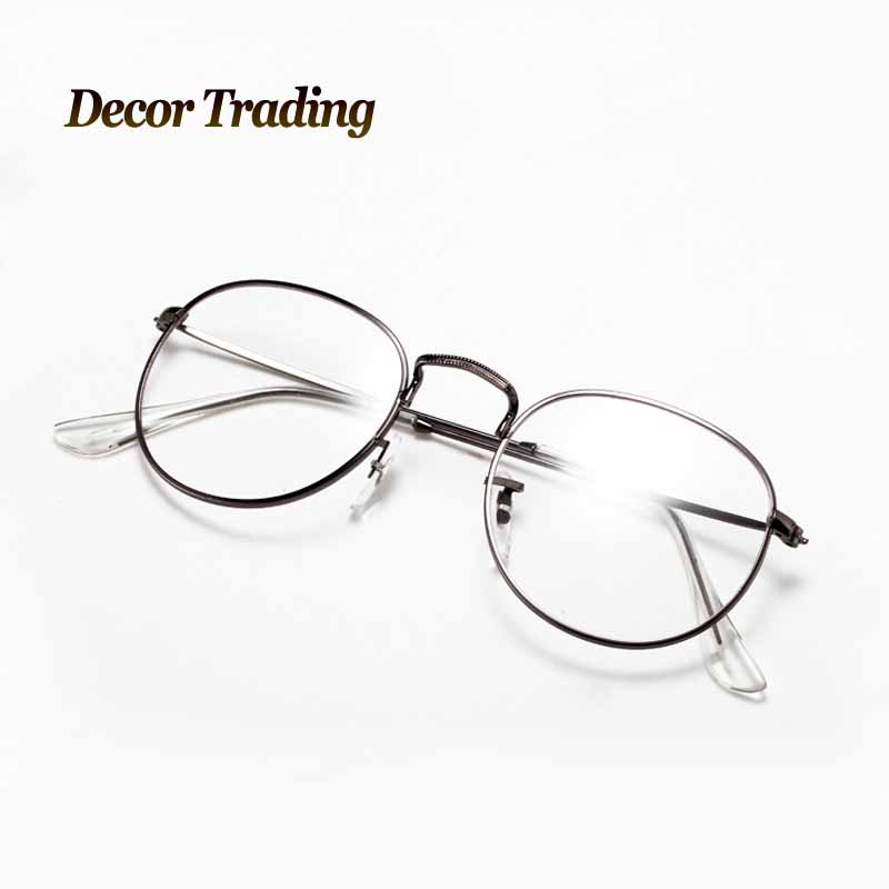 Round Glasses No Frame : Vintage Unisex Retro Round Metal Frame Clear Lens glasses ...