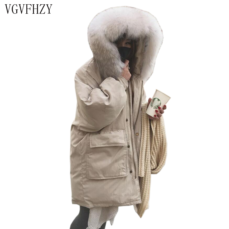 2018 New Winter Women Down Jacket Super Large Real Raccoon Fur Collar White duck Down jacket Coat Thick Warm Hooded Parkas