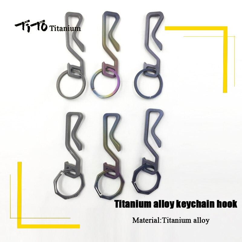 TiTo EDC Titane alliage Mousqueton clip Keychain clé crochets porte-clés suspendus boucle de Randonnée Sac À Dos porte-clés un ensemble