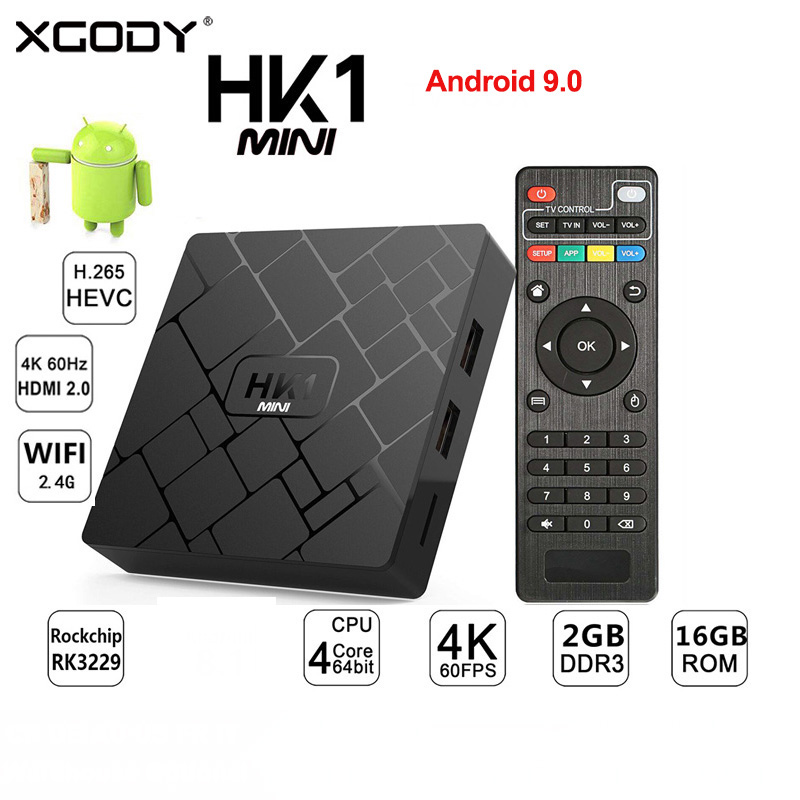 XGODY Android 9.0 HK1 Mini Smart TV BOX RK3229 Quad-Core 2G + 16G décodeur WIFI 2.4G Media Box TV récepteur