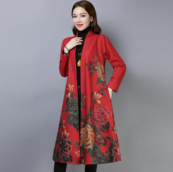 Trench   Coat For Women Spring Autumn Long Cardigan Fashion Flower Pattern Print Cotton Linen Trenca Feminino Ladies Casual Coats