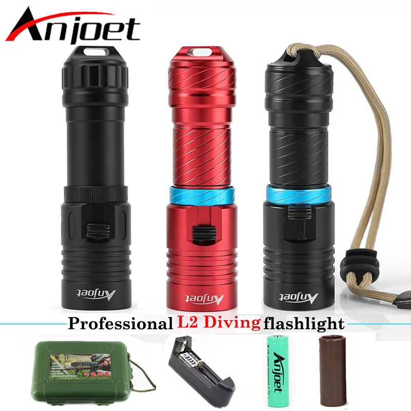 Anjoet Scuba Powerful Diver diving flashlight XM-L2 led 100M underwater torch lantern light+18650 rechargeable Battery+Charger