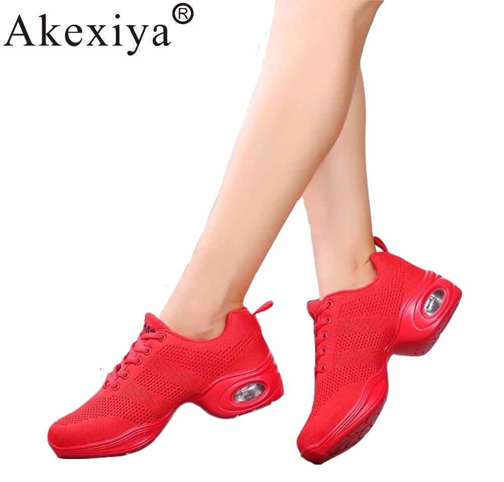 Akexiya Women Hip Pop Dance Sneakers Air Cushion Breathable Mesh Fly Line Lady Red Sports Dancing Dhoes Teacher Jazz Latin Shoes