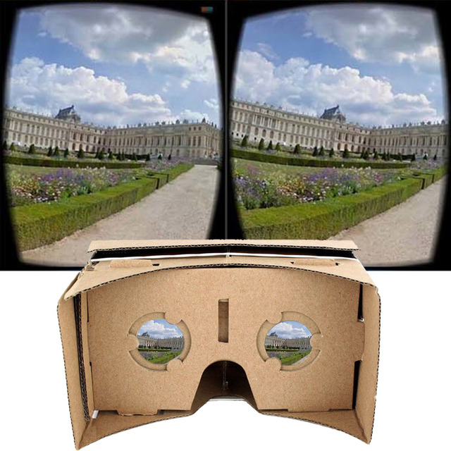 7bc098537 DIY الكرتون VR نظارة الواقع الافتراضي سماعة 3D VR فيلم ألعاب رئيس محمولة  العالمي لفون ل