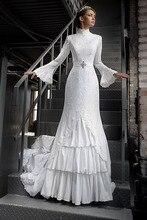 MZYW0210 full long sleeve high neck lace wedding dresses with hijab brautkleid muslim wedding dress