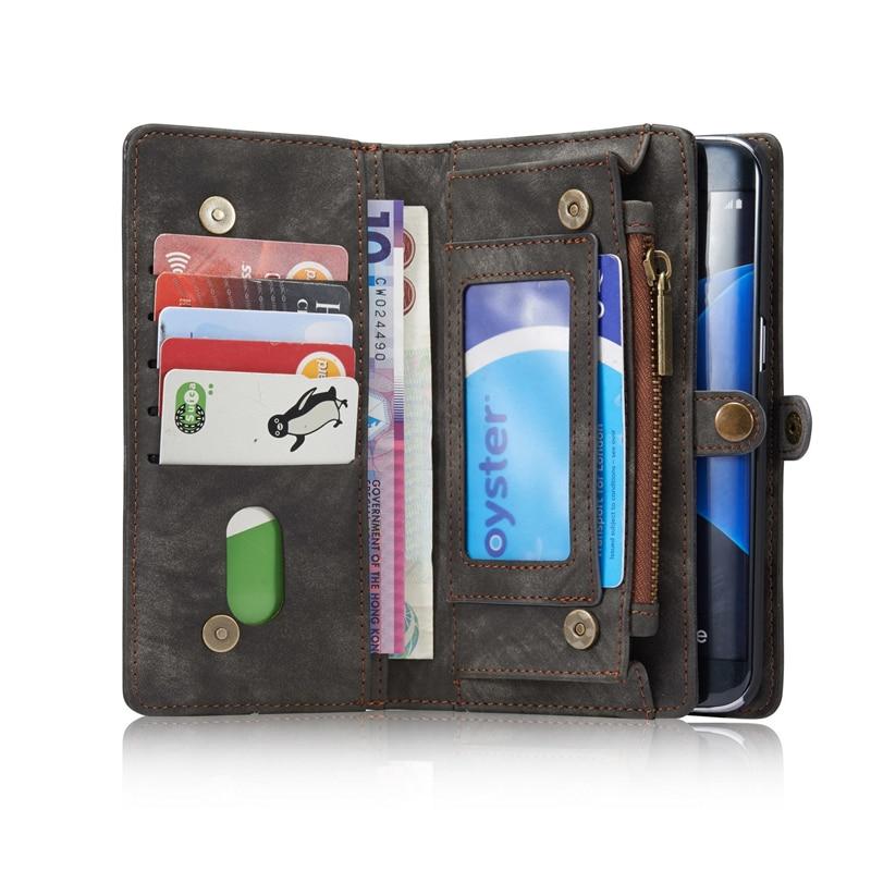 bilder für 2 in 1 Telefon Mappenkasten Für Samsung S7 rand Fall Leder magnetische Abdeckung Für Samsung Galaxy S7 rand Fall Beutel-standplatz Kartenhalter