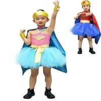 Girl Wonder Woman Halloween Costume Fancy Tutu Dress Super Children Party Cosplay Costumes Superhero Sets For Girls Kids Cloak