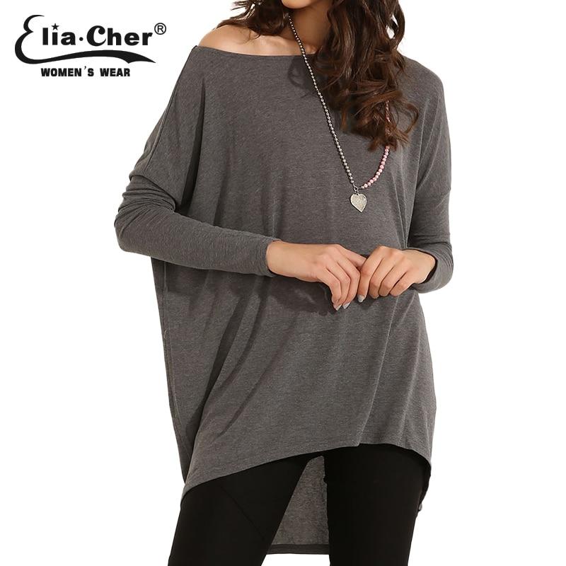 Elia Cher бренд лето мода свободную рубашку с длинными рукавами,качества ткани, большой размер женская одеда