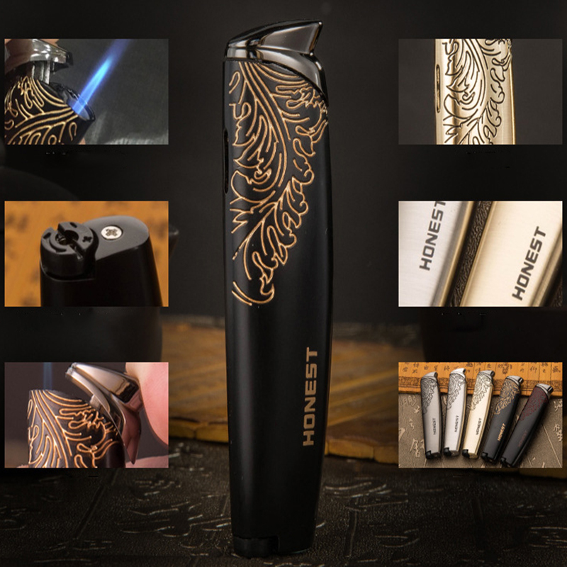 Image 2 - Free Shipping Jet Butane Cigar Lighter Torch Turbo Pipe Lighter Cigarette 1300 C Fire Pattern Windproof No GAS-in Matches from Home & Garden