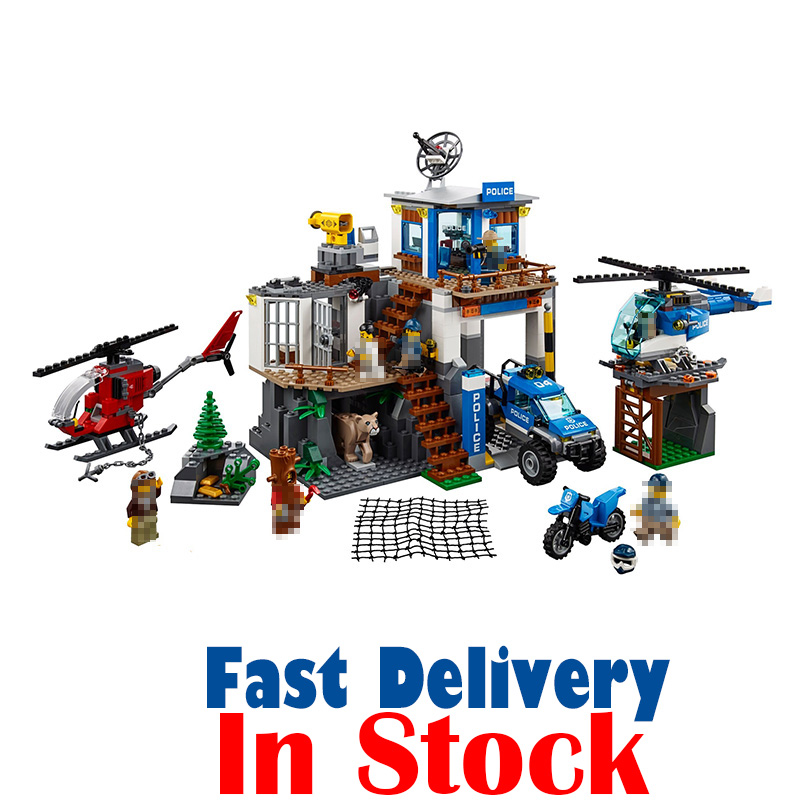 LEPIN 02097 Mountain Police Headquarters City Figures Building Blocks Bricks Toys For Children 742PCS Compatible legoINGly 60174 lepin 40011 882pcs city series police department model building blocks bricks toys for children gift action figures