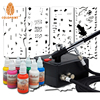 0 2mm 2CC Nail Art Airbrush Mini Air Compressor System Kit Airbrush Nail Art Stencil Set