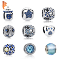 Authentic 100% 925 Sterling Silver Blue Crystal Paw Print,Daisy Charms Beads Fit Original Pandora Bracelet Pendant DIY Jewelry