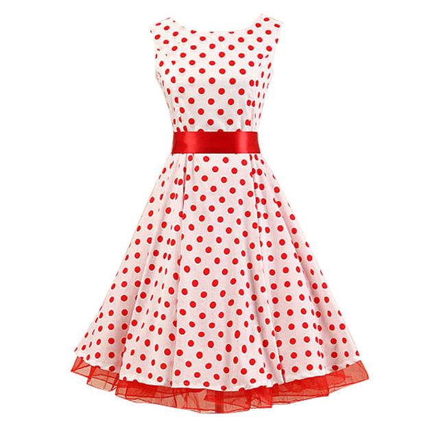 a45b91dfe2 2015 Red White Polka Dot Dress 50s Vintage Retro Audrey Hepburn Style  Rockabilly Evening Party Swing