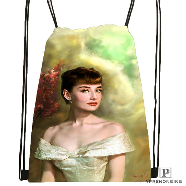 Custom Audrey-Hepburn-Inspirational-  Drawstring Backpack Bag Cute Daypack Kids Satchel (Black Back) 31x40cm#20180611-02-69