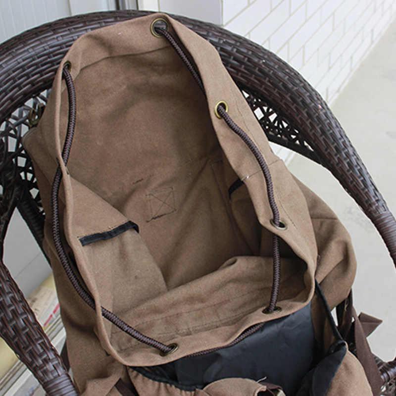 Männer Wandern Rucksack Leinwand Tasche Große Kapazität Männlichen Reise Rucksack Kordelzug Trekking Camping Bergsteigen Balso Sport XA154D