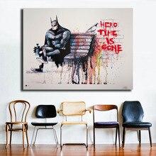 купить Banksy Hero Time is Gone Minimalist Watercolor Art Canvas Poster Oil Painting Wall Picture Print Home Bedroom Decoration Artwork онлайн