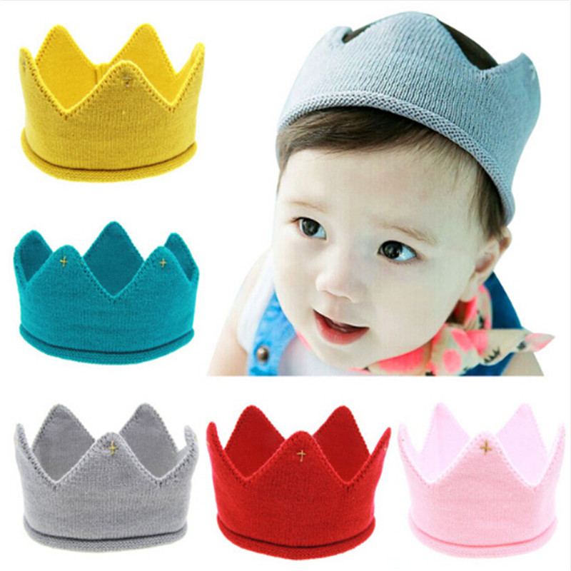 Cute Baby Boys Girls Crown Knit Headband Hair Accessories Children Hair Bands Soft Headwear Hair Band Kids Birthday Gift