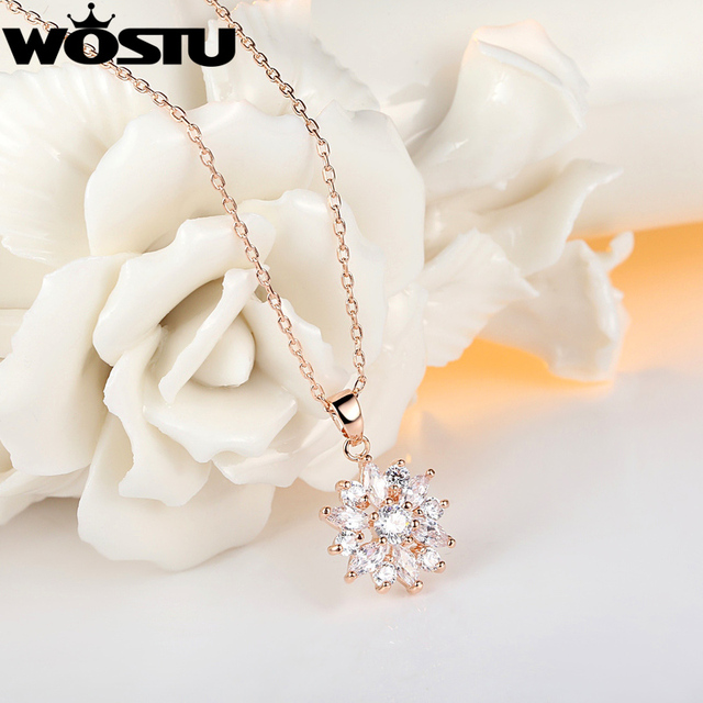 Aliexpress Hot Sale Gold Color Flower Pendant Necklaces For Women With High Quality Zircon Crystal Fashion Jewelry