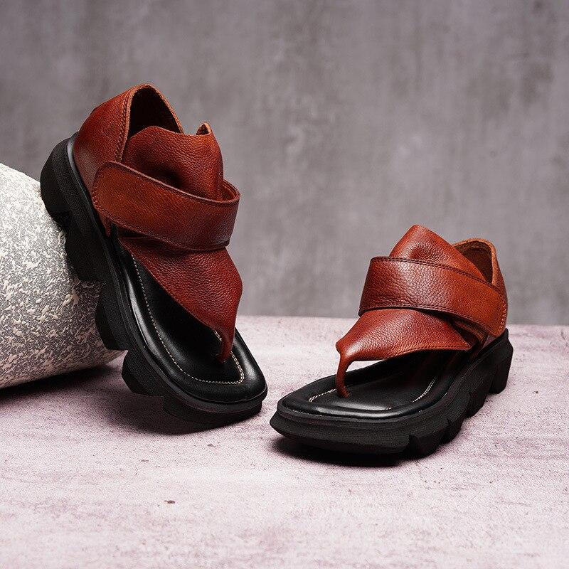 Sandales d'été femme 2019 nouvelle mode chaude à la main à cou chaussures décontractées à semelle épaisse sport en cuir confortable chaussures de plage souple-in Sandales femme from Chaussures    1