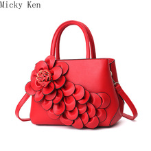 Fashion Women's Leather Handbags Flowers Luxury Tote Bag Sho