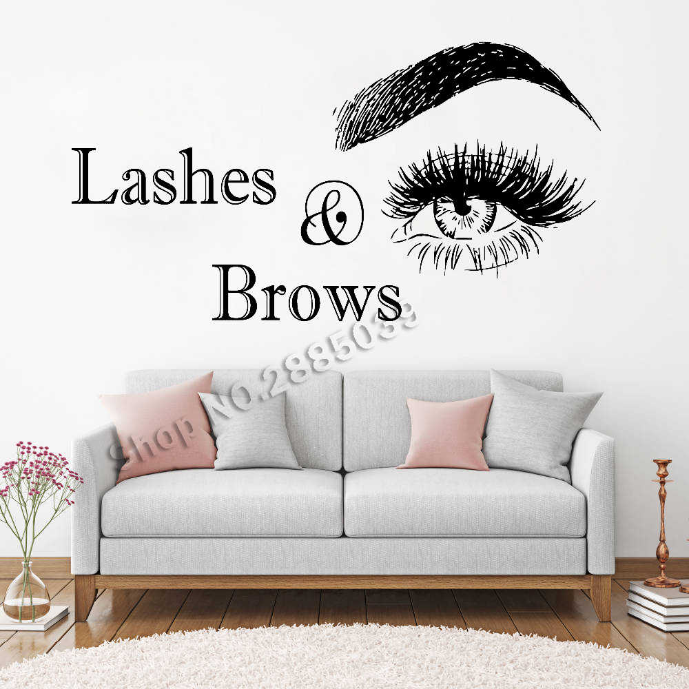 5a933b8d34a Lashes & Brows Quote Wall Sticker Beauty Salon Eye Eyelashes Eyebrows  Extension Decal Make Up Creative