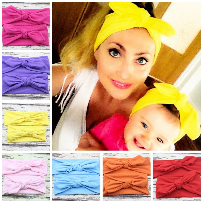 Mom Baby Rabbit Ears Hair Ornaments Tie Bow Headband Hair Hoop Stretch Knot Bow Cotton Headbands