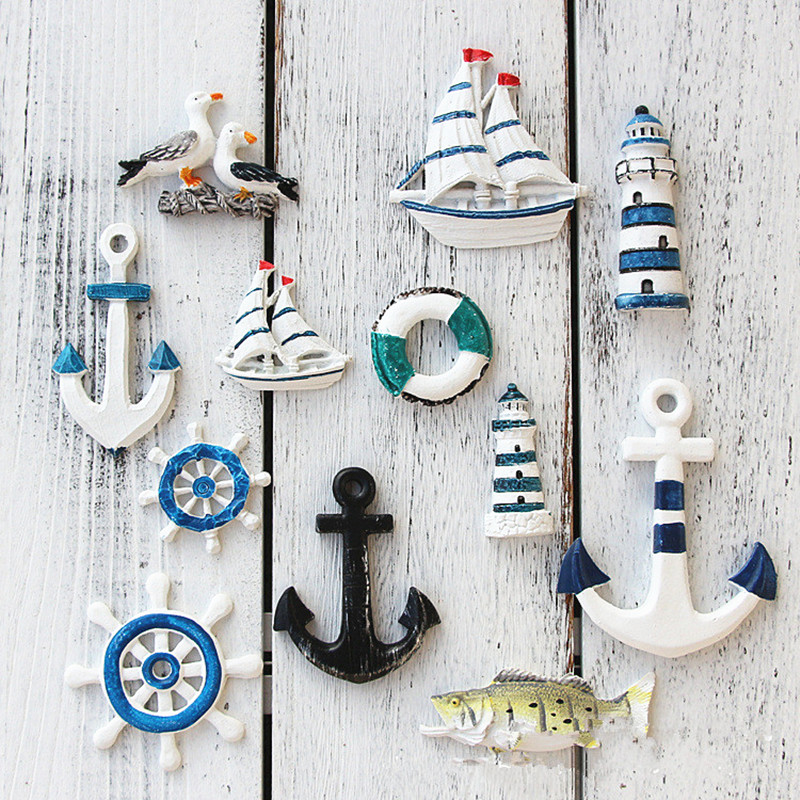 Mediterranean Style Resin-starship Lighthouse Helmsman Anchor Seabird Swimming Circle Ornaments Resin Crafts Home Decoration