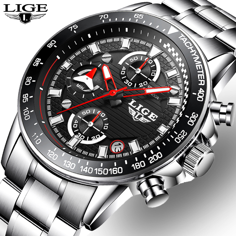 LIGE Men's Luxury Brand Sport Full steel Quartz Watches Men Military Waterproof Wrist watch Man Fashion Clock relogio masculino top brand luxury watch men full stainless steel military sport watches waterproof quartz clock man wrist watch relogio masculino