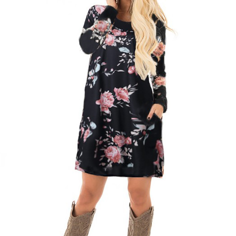 Women Autumn Fl Printed Dress 2017 Female Long Sleeve Mini Dresses Cotton Casual Plus Size Summer Gv845 In From S Clothing