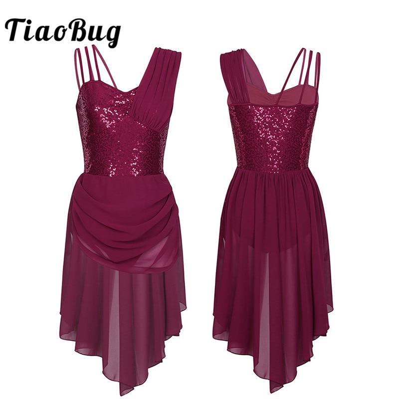 TiaoBug Women Spaghetti Straps Sequins Ballet Tutu Irregular Chiffon Dress Adult Ballet Gymnastics Leotard Stage Dance Costumes