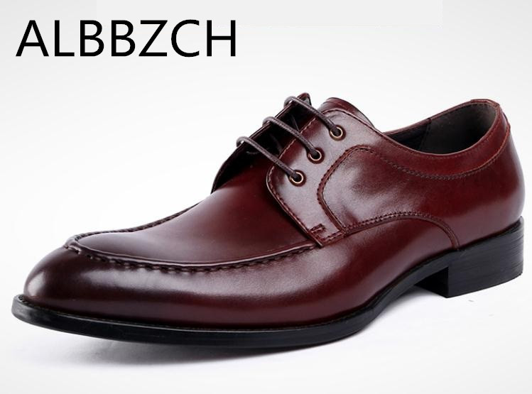 New business dress mens shoes men wedding shoes brand designer pointed toe lace genuine leather office work shoes size 38-44New business dress mens shoes men wedding shoes brand designer pointed toe lace genuine leather office work shoes size 38-44