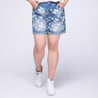 Woman blue short jeans high waist shorts women plus size korean distressed ripped loose jeans cintura alta ladies 2018 summer