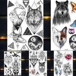 25 стилей новая Акварельная временная татуировка тигра лисы волка для мужчин и женщин поддельные тату наклейки в стиле боди-арт водостойкие ...