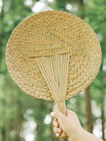 Handmade cattail fan Round Cattail Leaf Fan Handmade For Summer Best Gifts Creative Gift