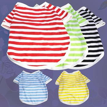 New TINGHAO Summer Pet Puppy Small Dog Cat Strip Style Casual Apparel Clothes Vest T Shirt