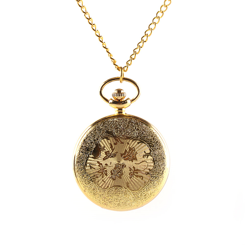 Vintage Gold Locomotive Motor Railway Train Steampunk Pocket Watch For Men Women Charming Pendant Necklace Clock Relogio in Pocket Fob Watches from Watches