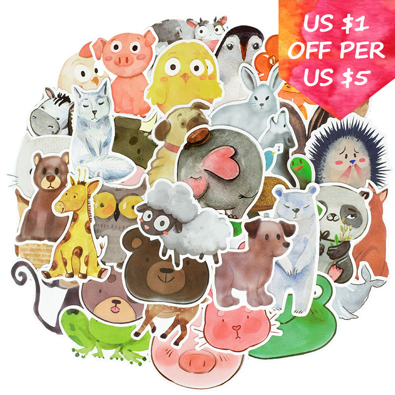 50Pcs Watercolor Animal Stickers For Suitcase Skateboard Laptop Cell Phone Motorcycle Bicycle Car Accessories Mixed DIY Stickers