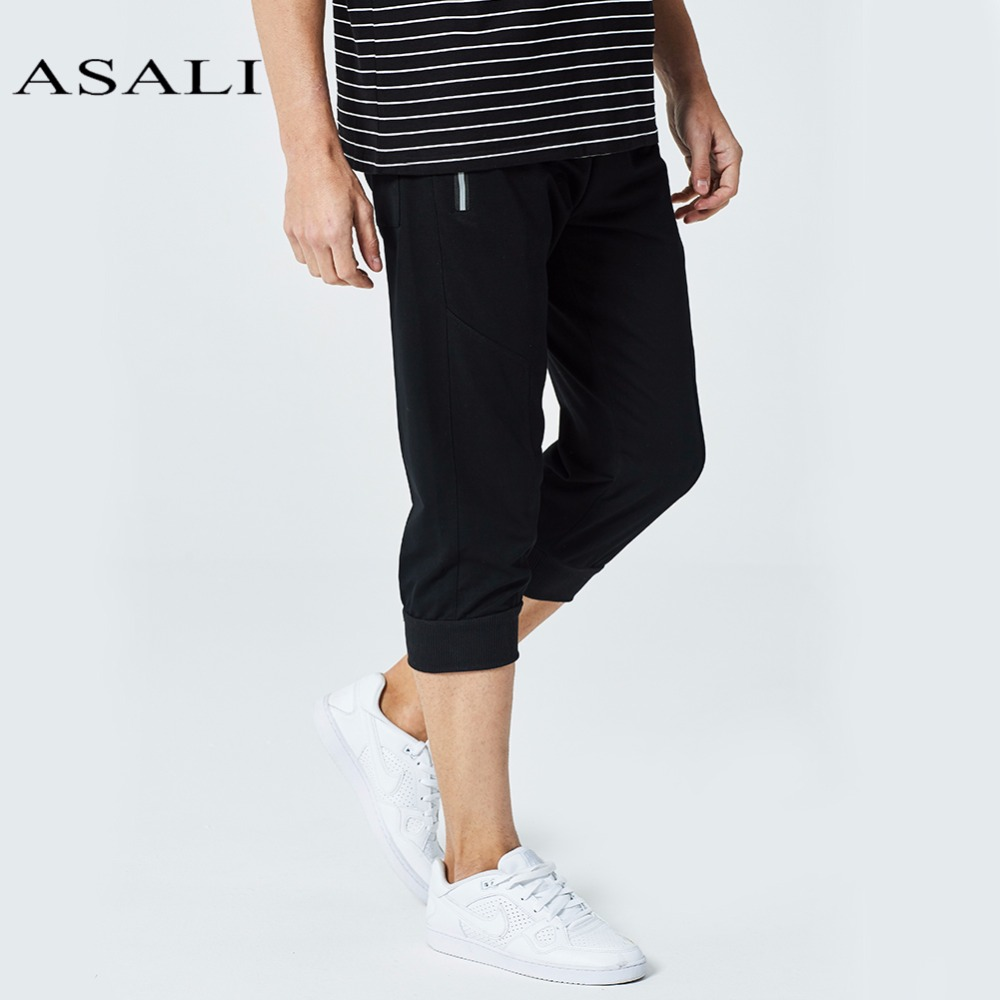 ASALI Men Calf Length Pants Casual Elastic Bodybuilding Fitness Workout Pants Skinny Sweatpants 3/4 Trousers Jogger Pants Zipper