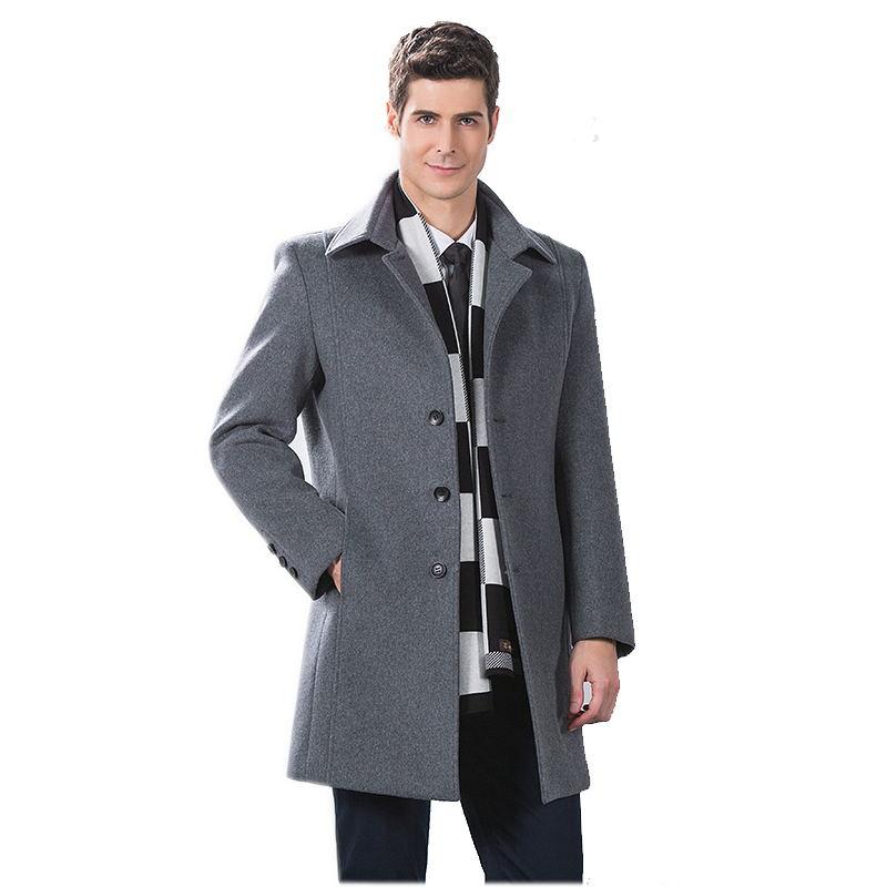 2016 winter wool single Breasted gray trench coat Men Men