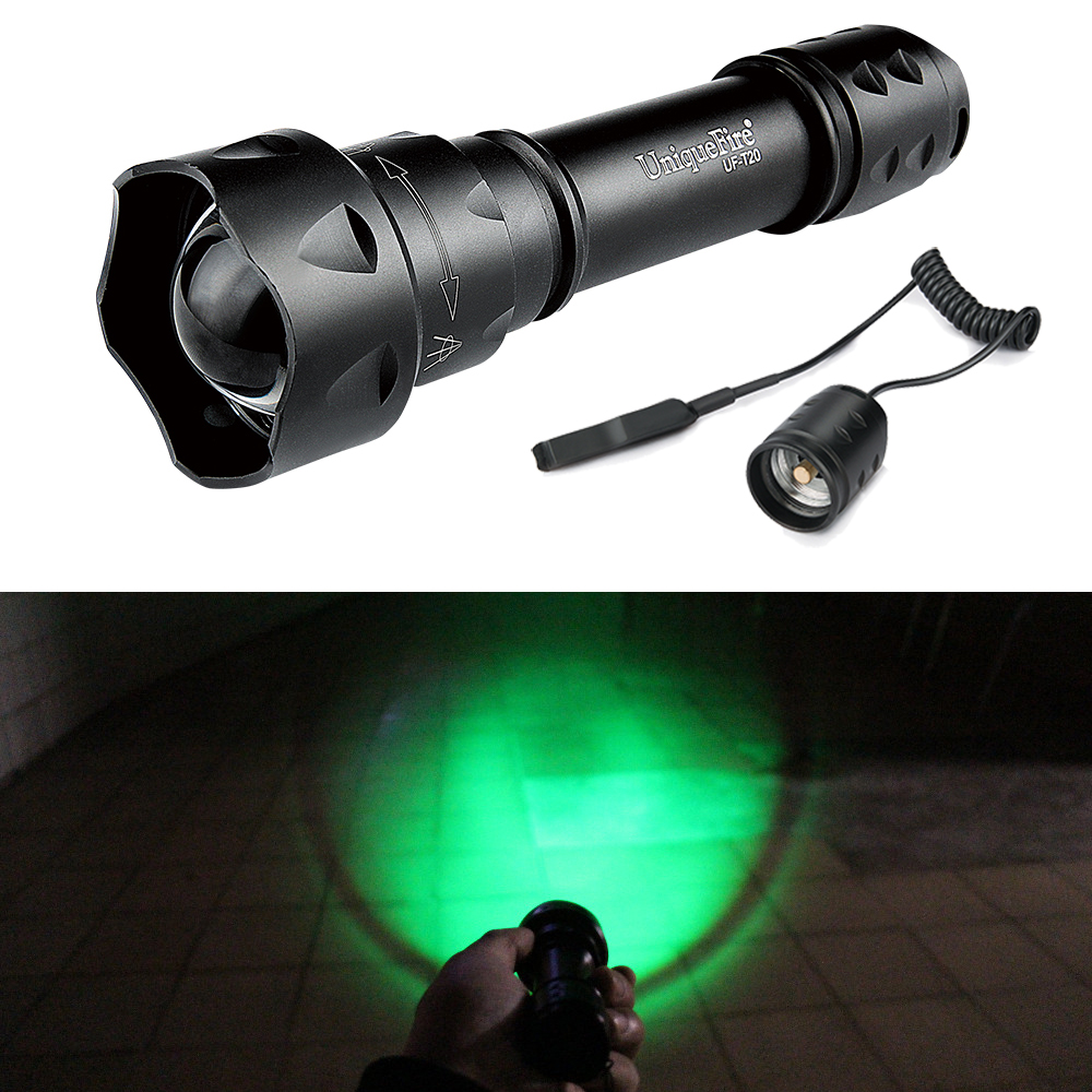 UniqueFire!Original Brand Military Flashlight UF-T20 XRE Led G/R/W Light Zoom 3 Modes Operating Flashlight+Remote Pressure